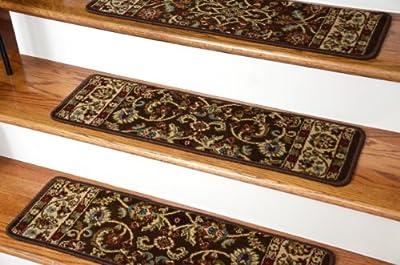 "Dean Non-Slip Tape Free Pet Friendly Stair Gripper Carpet Stair Treads - Classic Keshan Chocolate Brown 31""W (15)"