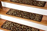Dean Premium Carpet Stair Treads - Classic Keshan Chocolate Brown Rug Runners 31''W Set of 13