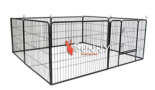 L BUNNY BUSINESS Heavy Duty 8 Panel Puppy Play Pen  Rabbit Enclosure, Large, Gunmetal Grey