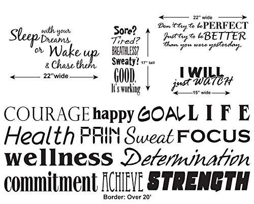 Update YOUR GYM or STUDIO with our Fitness Border Kit- Includes Our 20' Border and FOUR Motivational/Inspirational quotes for your workout area - Black - Removable Vinyl Wall Decal By Katazoom by Katazoom
