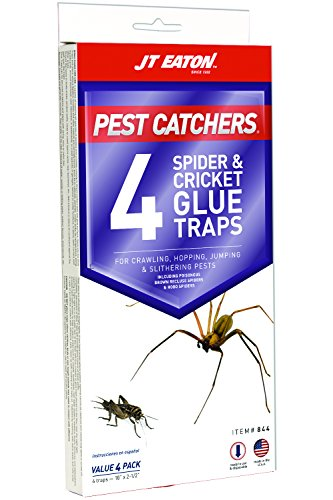 J T Eaton 844 Pest Catchers Large Spider and Cricket Size Glue Trap, 4 Traps (Cricket Bait)