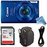 Canon PowerShot ELPH 190 Digital Camera COMPLETE BUNDLE w/10x Optical Zoom and Image Stabilization Wi-Fi & NFC Enabled + ELPH 190 Case + SD Card + USB Cable (Blue, 16GB)