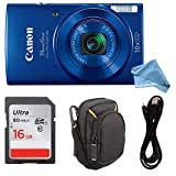Canon PowerShot ELPH 190 Digital Camera COMPLETE BUNDLE w/ 10x Optical Zoom and Image Stabilization Wi-Fi & NFC Enabled + ELPH 190 Case + SD Card + USB Cable (Blue, 16GB)