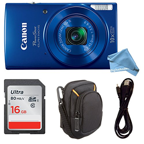 Canon PowerShot ELPH 190 Digital Camera COMPLETE BUNDLE w/ 10x Optical Zoom and Image Stabilization Wi-Fi & NFC Enabled + ELPH 190 Case + SD Card + USB Cable (Blue, 16GB) (Digital Camera Nfc)