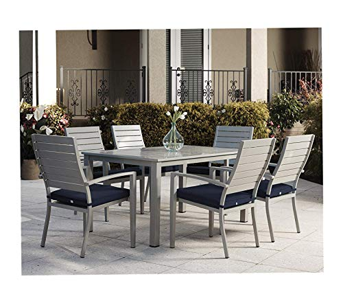 Wood & Style Patio Outdoor Garden Premium Blue Veil Patio Dining Chairs, 6-Pack, Navy (Wrought Repair Iron Chair)