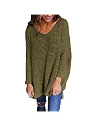 Women's V Neck Long Sleeve Sweater Solid Color Loose Jumper Pullovers