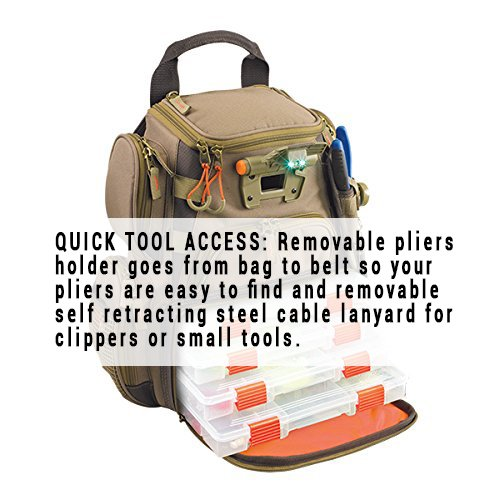 Wild River by CLC WT3503 Tackle Tek Recon Lighted Compact Tackle Backpack with Four PT3500 Trays and Clear, Water-resistant Phone Storage by Custom Leathercraft (Image #10)