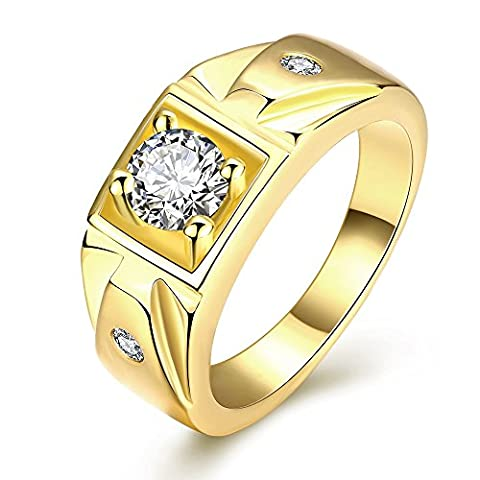 KIMING Exquisite Men Jewelry Golden Plated Promise Ring Cubic Zirconia CZ Band Gold Size 8-10 Comfort (Man Ring Gold 14k)
