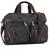 17 Inch MacBook Pro Case,Hybrid Laptop Backpack Messenger Bag / Convertible Briefcase Backpack BookBag Rucksack Satchel Waxed Canvas