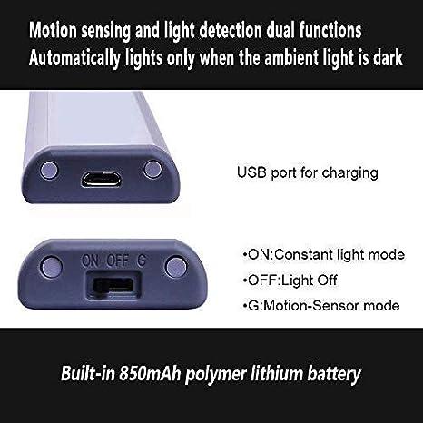 Led Cabinet Lights USB Light Otinlai Black Warm 2 Pack Night Light 10 LED Motion Sensor Lights Stick-on Lights to Anywhere Rechargeable LED Lights Under Cabinet Lights Wireless Led Closet Light