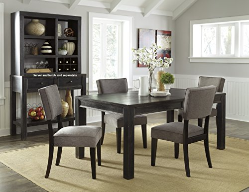 Gavellestong Vintage Casual Black Rectangular Dining Room Table w/ 4 Gray Side Chair