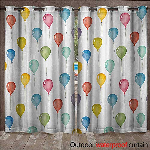 WilliamsDecor Colorful Outdoor Curtain for Patio Colorful Balloons Birthday Party Theme Celebration Festival Surprise Event Pattern W84 x L108(214cm x 274cm) ()