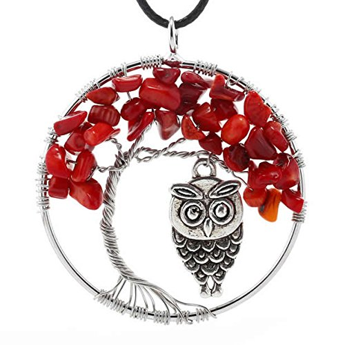 Jewelry Tree of Life Necklace Tree of Life Pendant Coral Necklace Coral Pendant Red Necklace Red Pendant Stone Healing Stone Necklace Coral (Red) (Pendant Tree Coral)