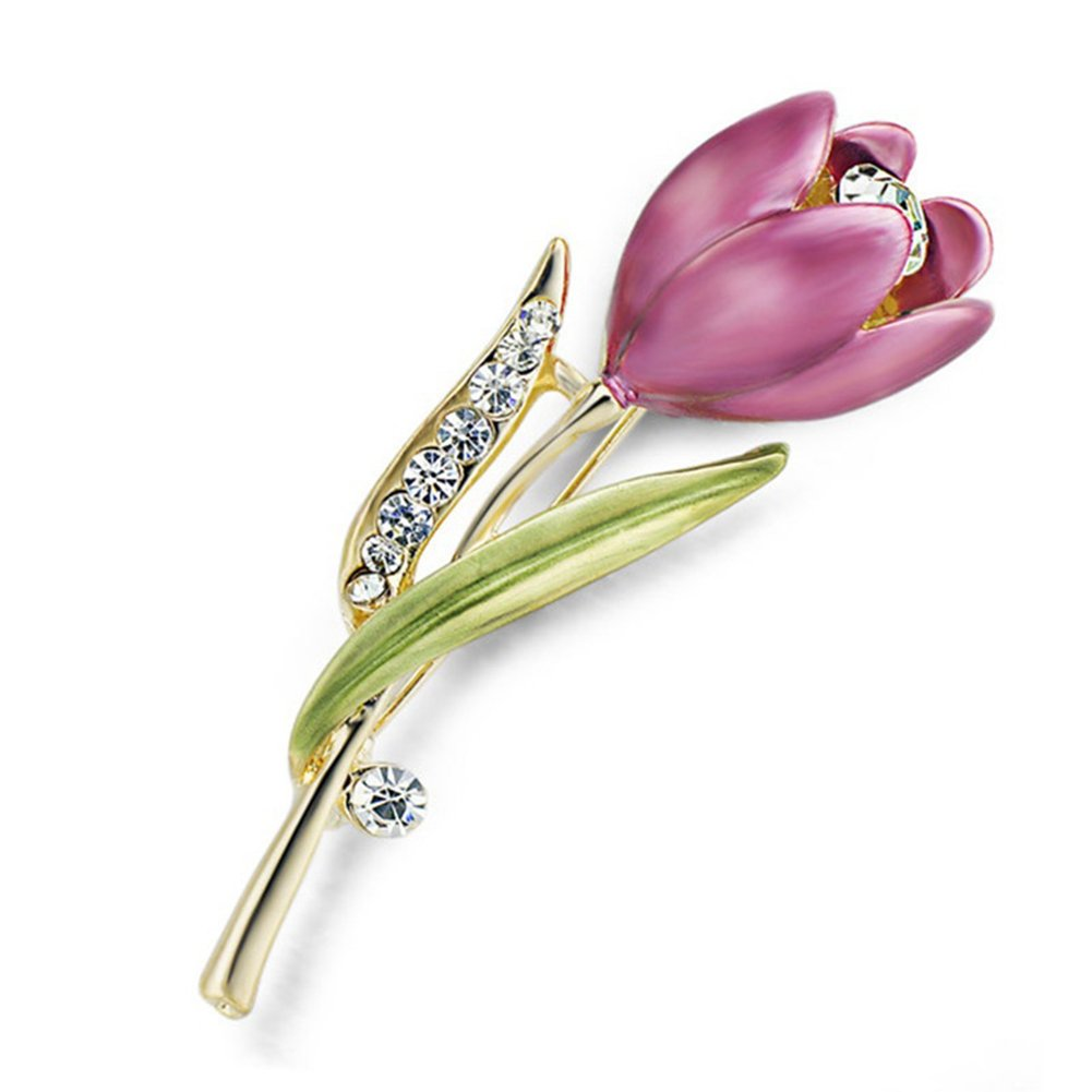 ink2055 Women Ladies Girls Brooches's Elegant Tulip Brooch Rhinestone Decoration Flower Pin Suit Breastpin