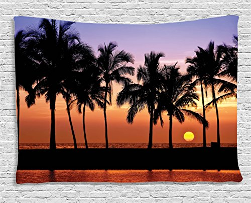 Scene Wall Tapestry (Beach Tapestry Sunset Hawaiian Decorations by Ambesonne, Pacific Lanikai Hawaii Colorful Sky Wavy Ocean Surface Scene, Bedroom Living Room Dorm Art Wall Hanging, 80 W X 60 L Inches, Blue Beige Orange)