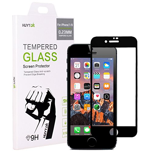 iPhone 7 iPhone 8 Screen Protector,HUYTDK Premium Tempered Glass[Full Coverage][5D Curved][Edge-to-Edge][Ultra-Thin][9H Hardness] for iPhone 7/8,Black