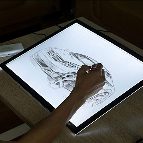 AGPtEK A3 light box, Light Pad Artcraft Tracing Light Board Ultra-thin USB Powered Dimmable LED Brightness for Diamond Painting Tatoo Pad Animation Sketching Designing Stencilling X-ray Viewing