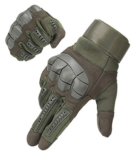 HIKEMAN Full Finger Touch Screen Tactical Military Gloves Hard Knuckle Gloves for Hunting Shooting Motorcycle Cycling Hiking (Army Green, Large)