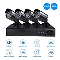Amgaze AHD Security Camera System 4CH 1080N 5-in-1 DVR Weatherproof 3.6mm Lens Night Vision 960P Surveillance Cameras With 1TB Surveillance Hard Disk Drive Motion Detection Smartphone Alerts