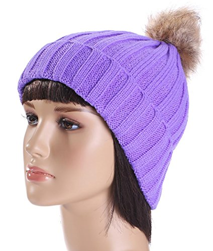 Veenajo Womens Girls Winter Fur Hats Thick Knitted Soft Lining Pom Pom Beanie Hat (Purple) (Burgundy Felt Bonnet)