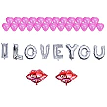 """NUOLUX 35pcs Romantic Foil Balloon Set - 16"""" I LOVE YOU Balloon 2 KISS ME Lip Mylar Balloons and 25pcs Pink Heart Balloons for Valentine's Day Engagement Wedding Party Decoration"""