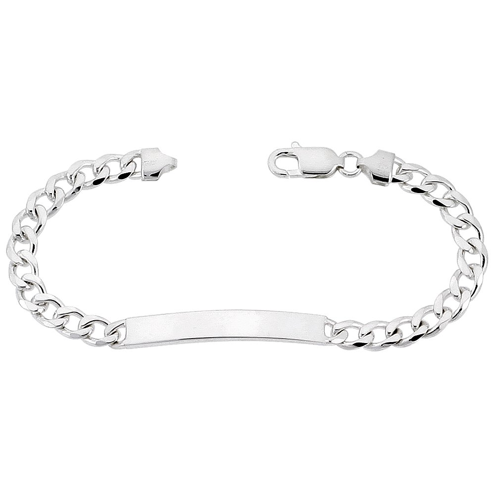 Sterling Silver ID Bracelet Curb Link 1/4 inch wide Nickel Free Italy 7 inch