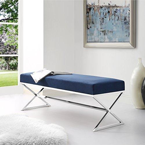 Aurora Blue Velvet Upholstered Bench - Stainless Steel Legs | Chrome Tone | Living-room, Entryway, Bedroom | Inspired Home - Steel Upholstered Bench