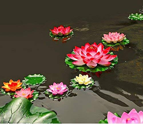 Chasoeo-Artificial-Floating-Foam-Lotus-FlowersFake-Ponds-Lotus-Leaves-FlowersFloating-Pond-Decor-Water-Lily6-PCS-Realistic-Water-Lily-Pad-Ornaments-for-Patio-Pond-Pool-Home-Garden-Rose-Red