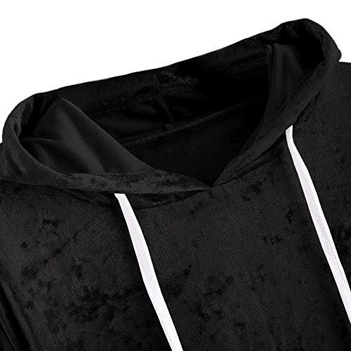 da con in Velluto Pullover Maniche Camicette Casual Vendita Liquidazione Cappuccio Lunghe Elegante Donna Shirt Cappuccio di Nero Camicie T con Donne Tops qF8Yw