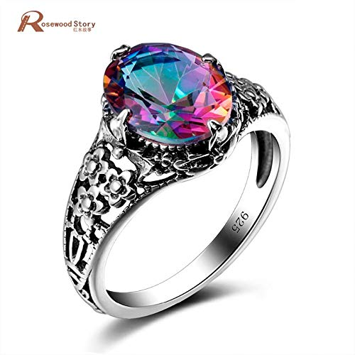 - Elegant Rainbow Fire Mystic Lab Topaz Crystal Ring | Pure Solid Sterling Silver Wedding Ring | Women Vintage Ring (3.5ct)