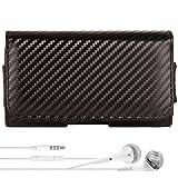 Vegan Leather Carbon Design Durable Hip Holster, Belt Clip [090] + VG Headphones For Motorola RAZR I   RAZR M   DROID RAZR HD M   Mini