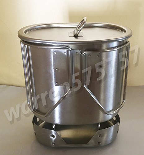 G.I. Style Stainless Steel Canteen Cup 700ML with Lid & STAINLESS STEEL STOVE/Stand FOLDABLE Set. by G.A.K
