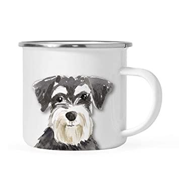 Stainless Steel Dog Campfire Coffee Mug Gift Schnauzer Up Close