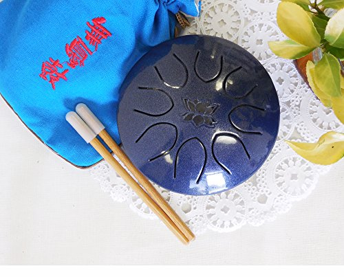 Hand pan Drum Tongue Drum Chakra Drum Mini Tongue Drum Tank Handpan UFO series, Great Gifts for Meolodies Theropy, Lotus Sapphire by WUYOU
