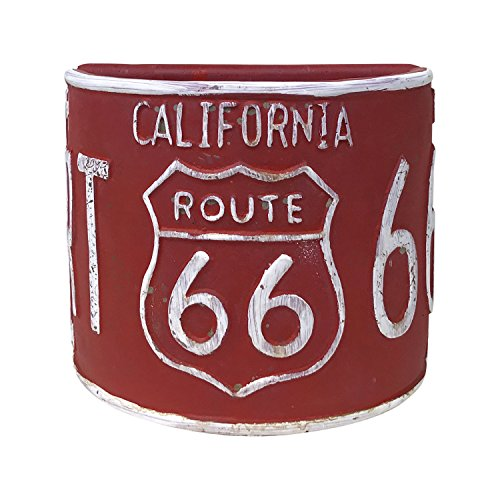 Rustic Route 66 Half-Round Planter, Vintage Style License Plate Design (Red)