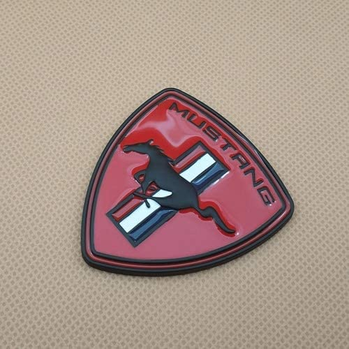 Metal Car Styling Running Horse Door Badge Sticker Trunk Fender Auto Emblem 3 Colour Decal for Mustang Color : Black with Red