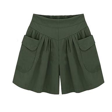 friendGG Women s Plus Size Wide Leg Shorts,Sommer Hose Freizeithose  SporthoseDamen Shorts,Damen Kurze d6141363ee