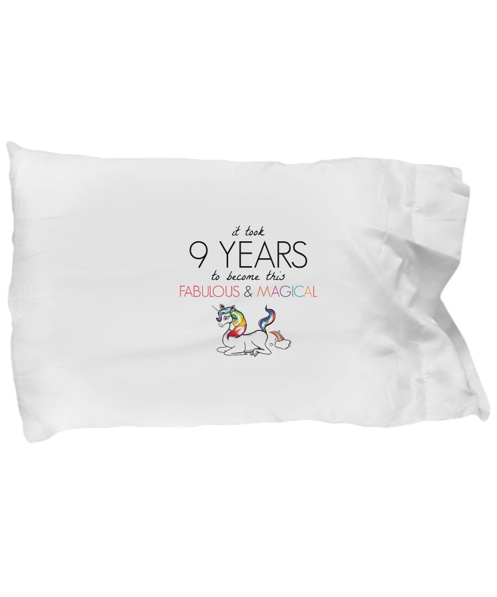 BarborasBoutique 9th Birthday Pillowcase - Unicorn I'm Magical Fabulous Fart Rainbow - Funny Congratulations Happy 9 Year Old Th Ninth Pillow Case Cover Gift Ideas For Girls Women