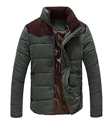 OUCHI Men's Stand Collar Jackets Slim Fit Front-Zip and Snap Buttons Winter Coat