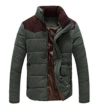 OUCHI Men's Stand Collar Jackets Slim Fit Front-Zip and Snap Buttons Winter Coat Armygreen