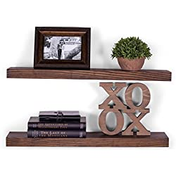 "DAKODA LOVE 5.25"" Deep Clean Edge Floating Shelves, USA Handmade, Clear Coat Finish, 100% Countersunk Hidden Floating Shelf Brackets, Beautiful Grain Pine Wood Wall Decor (Set of 2) (24"", Espresso)"