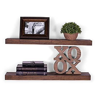 "DAKODA LOVE Wood Floating Shelves - Rustic Espresso Stain and Clear Coat Finish - 5.25"" Deep with Clean Edge - USA Handmade - Set of 2 - Shelf Size 24"" inch - TRUE FLOATING SHELVES with a rustic appearance with hand wiped espresso color stain and clear coat finish. Sits flush against wall with 100% countersunk hidden brackets (includes all mounting hardware). Shelves measure: 24L x 5.25D x 1.38H (in inches) HANDCRAFTED with furniture grade, dry kilned pine wood. We source, cut, plane, joint, route, and sand our wood shelves in-house, with our own hands, to ensure the utmost consistency in aesthetics and durability. VERSATILE AND FUNCTIONAL, it's a great hanging shelf for your bedroom, bathroom, entryway, or exhibit family photos gallery style in a long hallway, or use in the kitchen to hold spices and jars. - wall-shelves, living-room-furniture, living-room - 51p5X82m iL. SS400  -"