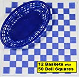 12 Blue Plastic Oval Food/Burger Baskets plus 50 Checkered Deli Paper Liners. Restaurant/Food Tray Basket Sets for Barbecues, Picnics, Parties, Kids Meals, Outdoors. Blue, White