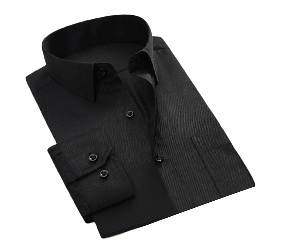 Tootless-Men Button-Down Business Top Thin Autumn Solid Flexible Fit Shirt