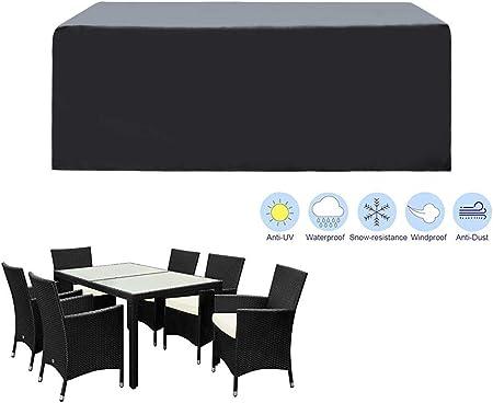SIRUITON Funda de Muebles de Jardín Exterior Mesa de jardín y Silla Cubierta de Protección Impermeable Negro (180x120x74cm): Amazon.es: Hogar