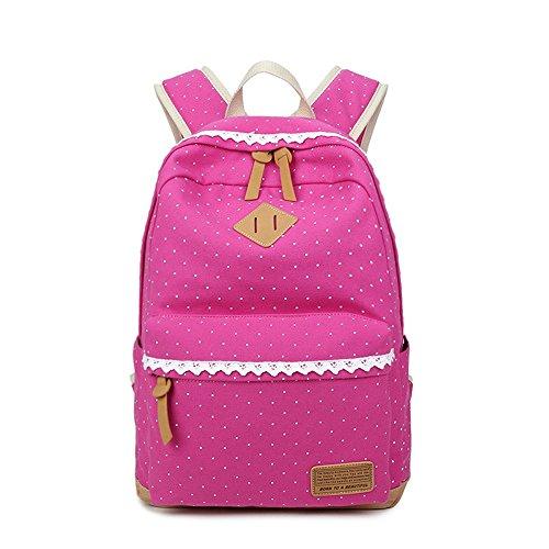Moda lindo encaje Polka Dot Casual lona portátil bolsa escuela mochila mochilas ligeras para niñas adolescentes Azul