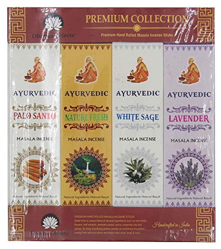 DharmaObjects Ayurvedic Incense Sticks Variety Pack of 12 Premium Fragrances White Sage Basil Vanilla Nature Fresh Palo Santo and Lavender