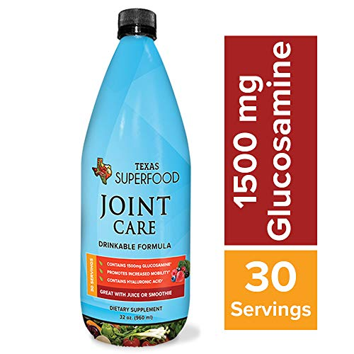 Texas SuperFood - Joint Care Drinkable Formula, Liquid Multivitamin for Joints, Glucosamine & Chondroitin Supplement Drink, Increase Mobility, Contains Hyaluronic Acid, 32 oz, 30 Servings