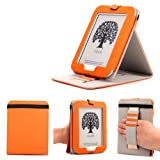 Mulbess - Nook GlowLight 4th Stand Case Cover - Leather Case Cover with Elastic Hand Strap for Nook GlowLight 4th (NOT fit NOOK Simple Touch with GlowLight NOOK 3rd Gen or NOOK Simple Touch NOOK 2nd Gen) Color Orange