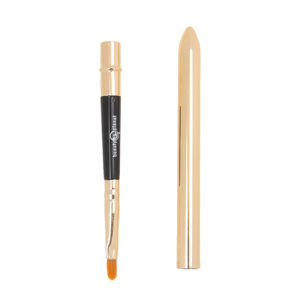 MagiDeal Pinceau à Lèvres Portable avec Couvercle et Tube Dorée Outil Cosmétiques